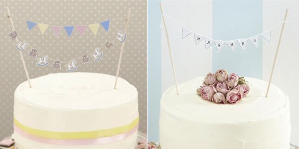 Ideas Para Fiestas Banderines Para La Decoracion De Tartas - Adornos-tarta