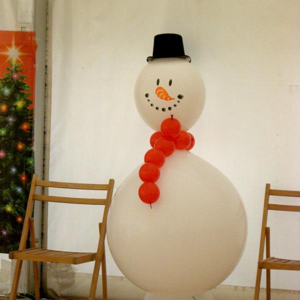 Decorar con globos c mo hacer un mu eco de nieve - Hacer munecos con globos ...